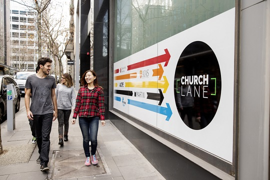 Embassy Melbourne students outside the Centre on Church Lane, Melbourne.